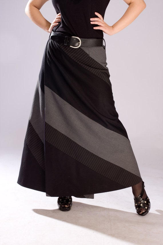 Skirt / Wool Skirt / Wrap Skirt / Long Wool Skirt / Wool Wrap Skirt / Maxi Skirt / Long Black Skirt / Black Skirt / Grey Skirt /Formal Skirt