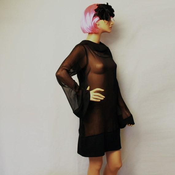 little black dress/ hoodie dress/silk dress/ sheer dress/ party dress/ HDS-BK