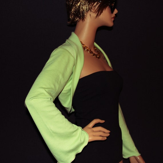 Lime-green Shrug cardigan /bell sleeves/wrap top SS-GN