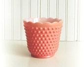 Vintage Honeysuckle Pink Hobnail Vase Fire King