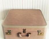 Vintage Buff Leather Oshkosh Suitcase
