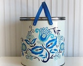 Large Vintage Blue Foral Tin With Handles