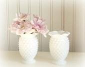Pair Vintage Fenton Hobnail Bud Vases