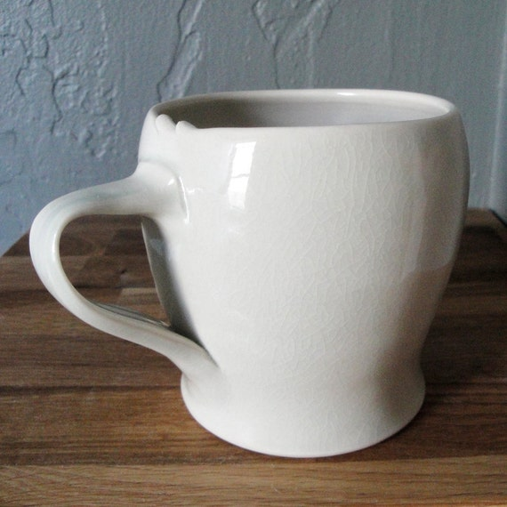 Wheel Thrown Porcelain Mug in Pale Green