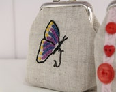 butterfly... hand embroidered and stamped mini clasp purse - choose your own initial option