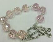 Pink Glass Crystal Rosary Bracelet