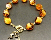 Brown Agate Fire Polish Rosary Bracelet (BR-9)