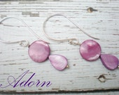 Purple Shell Earrings on Extra Large  Decorative Sterling Earwires
