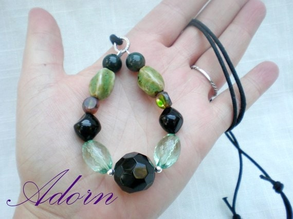 Nursing Mom Necklace in Green and Brown