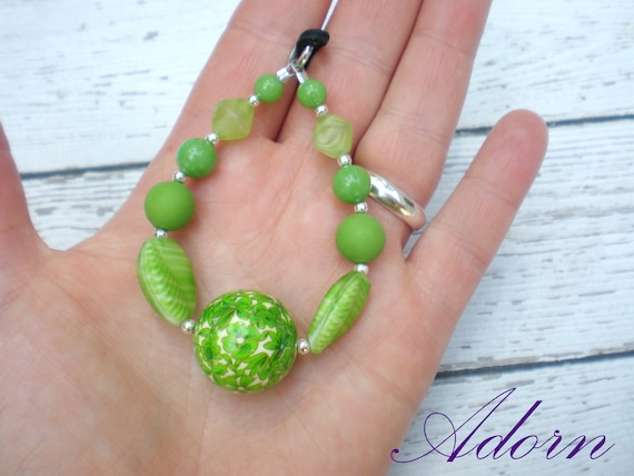 Green Decopage and Vintage Beaded Nursing Necklace