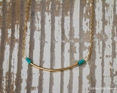 Bridesmaids Gold Bar and Turquoise Seed Bead Necklace | Custom Handmade | Handmade Jewelry | Gold Bar Necklace | Turquoise Necklace | Dainty