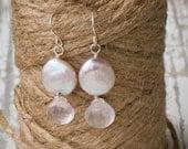Bride or Bridesmaids Pale Pink Coin Pearl & Rose Quartz Earrings