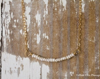 Bride or Bridesmaids Custom Seed Pearl Necklace on 14k Gold Filled Chain | Dainty Necklace | Seed Pearls | Simple + Dainty | Gifts under 50