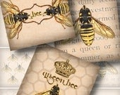 Bee Illustrations . Digital Collage Sheet 222 . Vintage Beekeeping Text . 1.5 inch squares