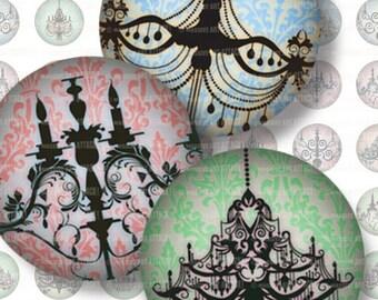 Chandelier Digital Collage Sheet 213 . Multi Color Chandeliers on Damask . 18mm circles