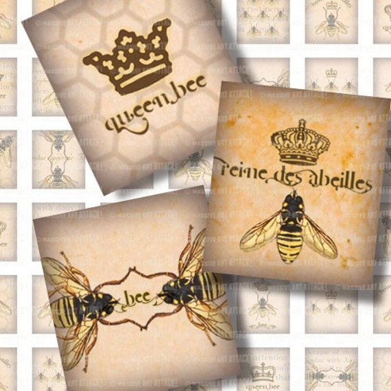 Digital Collage Sheet 176 . Bee Illustrations with Vintage Beekeeping Text . Scrabble Tile (0.75 x 0.83 inches)