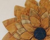 Textile Wall Hanging - Copper Textile Flower Fiber Art Wall Hanging