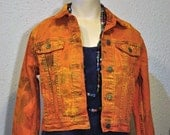"Orange Kids Large Denim JACKET - Carrot Orange Hand Dyed Upcycled Levi's Denim Trucker Jacket - Kid CHILDs Large (32"" chest)"