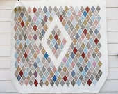 "Gibraltar Lattice Quilt - Iowa State Fair Ribbon Quilt - Queen Size Hand Quilted - 84 x 92"""