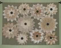 Art Wall Hanging - Sage Ivory Tan Fiber Art Wall Decor Textile Flower Wall Hanging