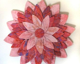 Wall hanging - Flamingo Pink Batik Textile Flower Fiber Art Wall Hanging