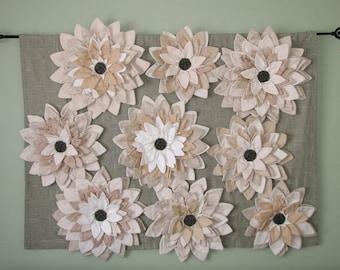 Home Decor Art Wall Hanging - White Ivory Sage Green Fiber Art Textile Multi Flower Wall Hanging Floral Garden