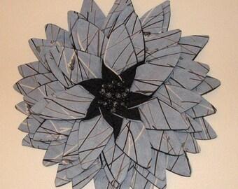 Wall Hanging - Slate Steel Blue Fiber Art Textile Flower Wall Hanging