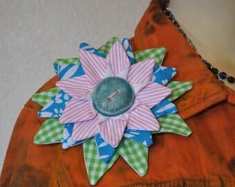 Flower Brooch Pin #7 - Green Aqua Blue Pink Fabric Flower Corsage Brooch Pin