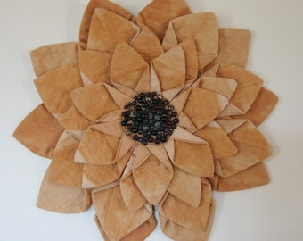 WALL HANGING - Amber Hand Dyed Fiber Art Textile Flower Wall Hanging