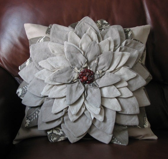 Flower Pillow Natural Taupe Fiber Art Textile Flower