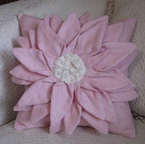 Flower Pillow Petal Pink Fiber Art Textile Flower Decorative Pillow