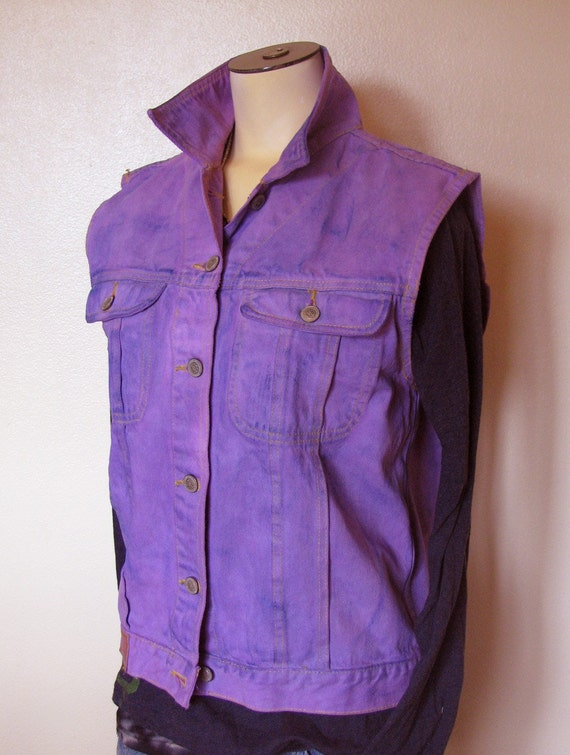"Purple Medium Denim Vest - Violet Purple Hand Dyed Upcycled PS Gitano Denim Trucker Vest - Adult Womens Medium  (40"" chest)"