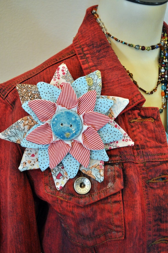 Flower Pin Brooch PIN #12 - Red Aquamarine Blue Pink Fabric Flower Corsage Brooch Pin