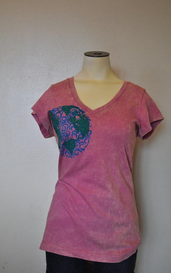 Screen print T SHIRT - Pink Mauve Marble Blue Green Original Earth Screenprint Tshirt - Juniors XL Extra Large