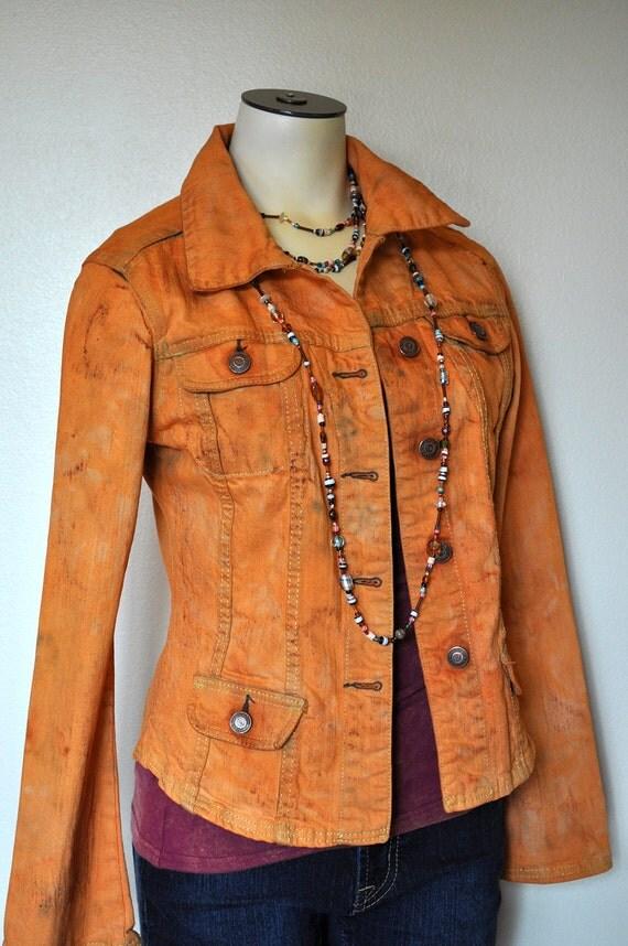 "Denim Jacket - Autumn Rust Orange Hand Dyed Upcycled Cotton Denim Jacket - Juniors Small (34"" chest)"