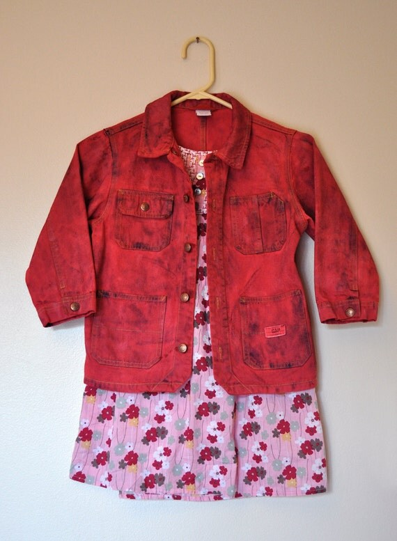"Kids Red Sz 5 Denim JACKET - Cherry Red Back to School Hand Dyed Upcycled Gap Denim Jacket - Child Size 5 (32"" chest)"