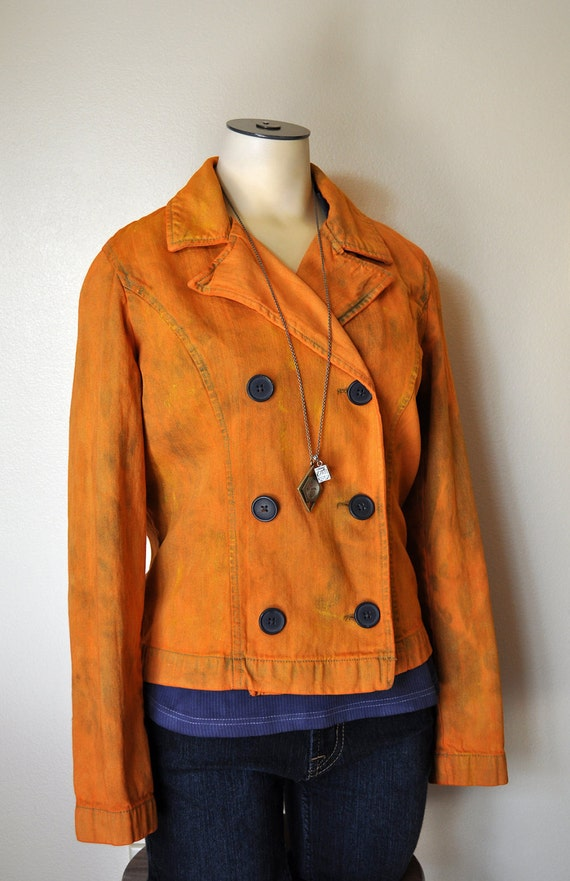 """Orange Small Denim JACKET - Pumpkin Orange Hand Dyed Upcycled French Cuff Double Breasted Denim Jacket - Adult Womens Small (36"""" chest)"""