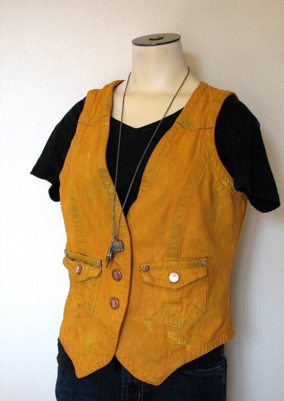 "Hipster Denim Vest - Distressed Urban Tangerine Gold Hand Dyed Upcycled Urban Style Bill Blass Denim Vest - Medium (38"" chest)"