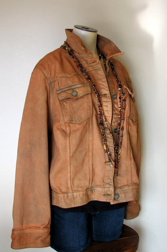 Womens Brown Denim Jacket Coat Nj