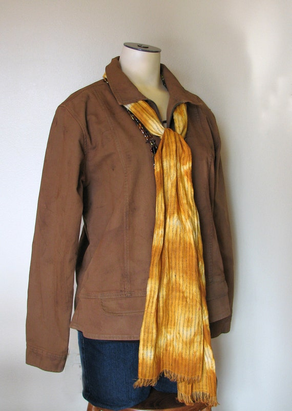 "Cotton Jacket - Rust Brown Hand Dyed Upcycled Repurposed Cotton Jacket - Size Medium (40"" chest)"