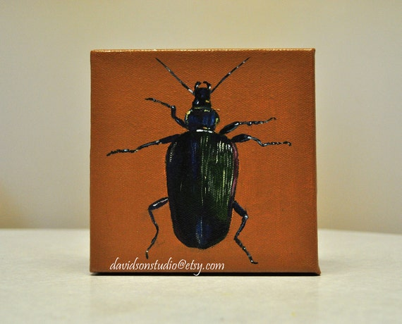 Original Acrylic PAINTING - Beetle Insect Bug Gallery Wrap Mini Canvas 5x5 Acrylic Painting