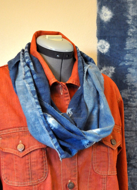 Infinity Scarf - Hand Dyed Linen Loop Eternity Scarf - Natural Indigo Dyed Shibori Continuous Loop Scarf