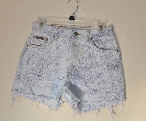 URBAN SHORTS  - Urban Style Denim Distressed Spattered High Rise Waist  Vintage Shorts - Misses Size 6 (29)