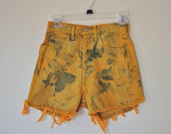 VINTAGE SHORTS  - Hand Dyed Orange Urban Style Denim High Waisted Jean Shorts Distressed Vintage Cut-off Shorts -  Size (24)