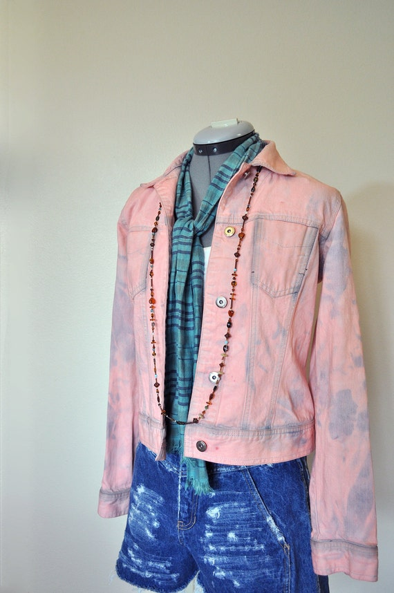 Pink Small Denim JACKET - Coral Pink Hand Dyed Upcycled Casual Corner Denim Trucker Jacket - Adult Womens Small  (36 chest)