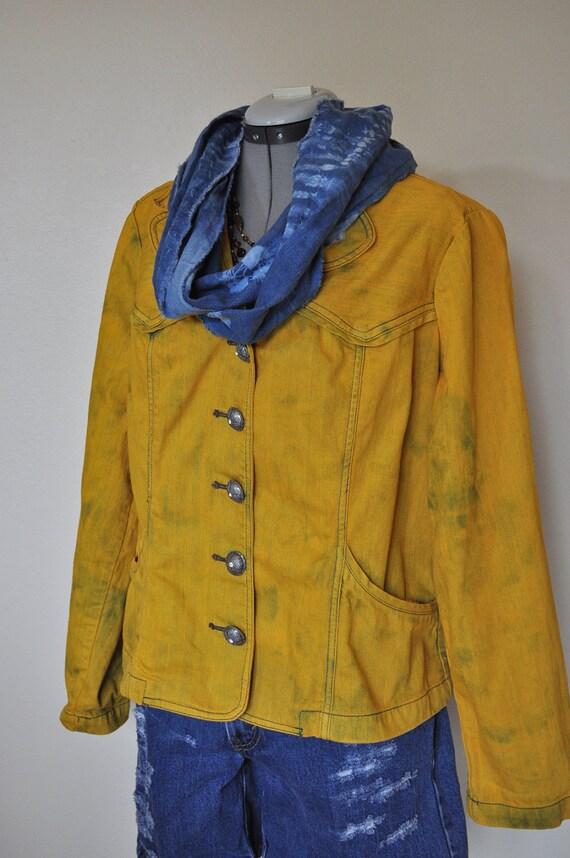 Rustic Denim Jacket - Gold Ochre Hand Dyed Upcycled Denim Jacket - Large (46 chest)
