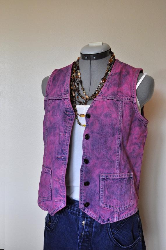 "Pink XS Denim VEST - Violet Fuchsia Magenta Purple Hand Dyed Upcycled Eddie Bauer Denim Vest - Adult Womens Extra Small (34"" chest)"