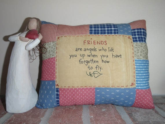 Friends are angels pillow