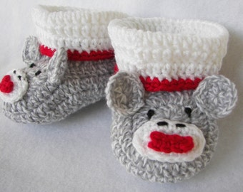 Baby Booties, Sock Monkey NB to 6 Months Finely Finished Crochet Baby Gift