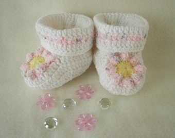 Pink Daisy Baby Booties Newborn to 6 Months Finely Finished Crochet Baby Gift